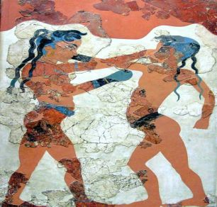 Minoan Boxing Boys Fresco Art Akrotiri