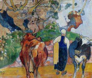 Peasant Woman and Cows in a LandscapePaul Gauguin